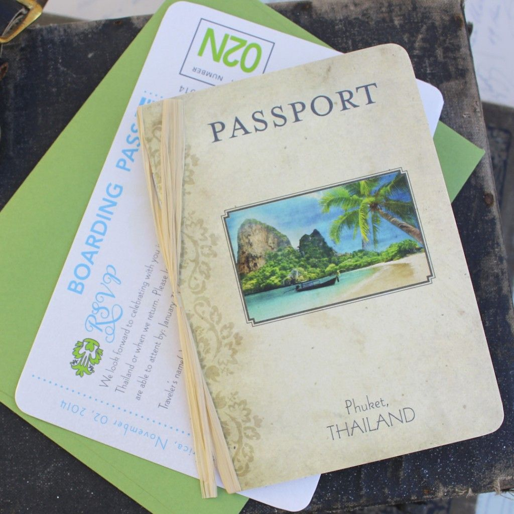 Mini Vintage Passport Wedding Invitation Phuket Thailand