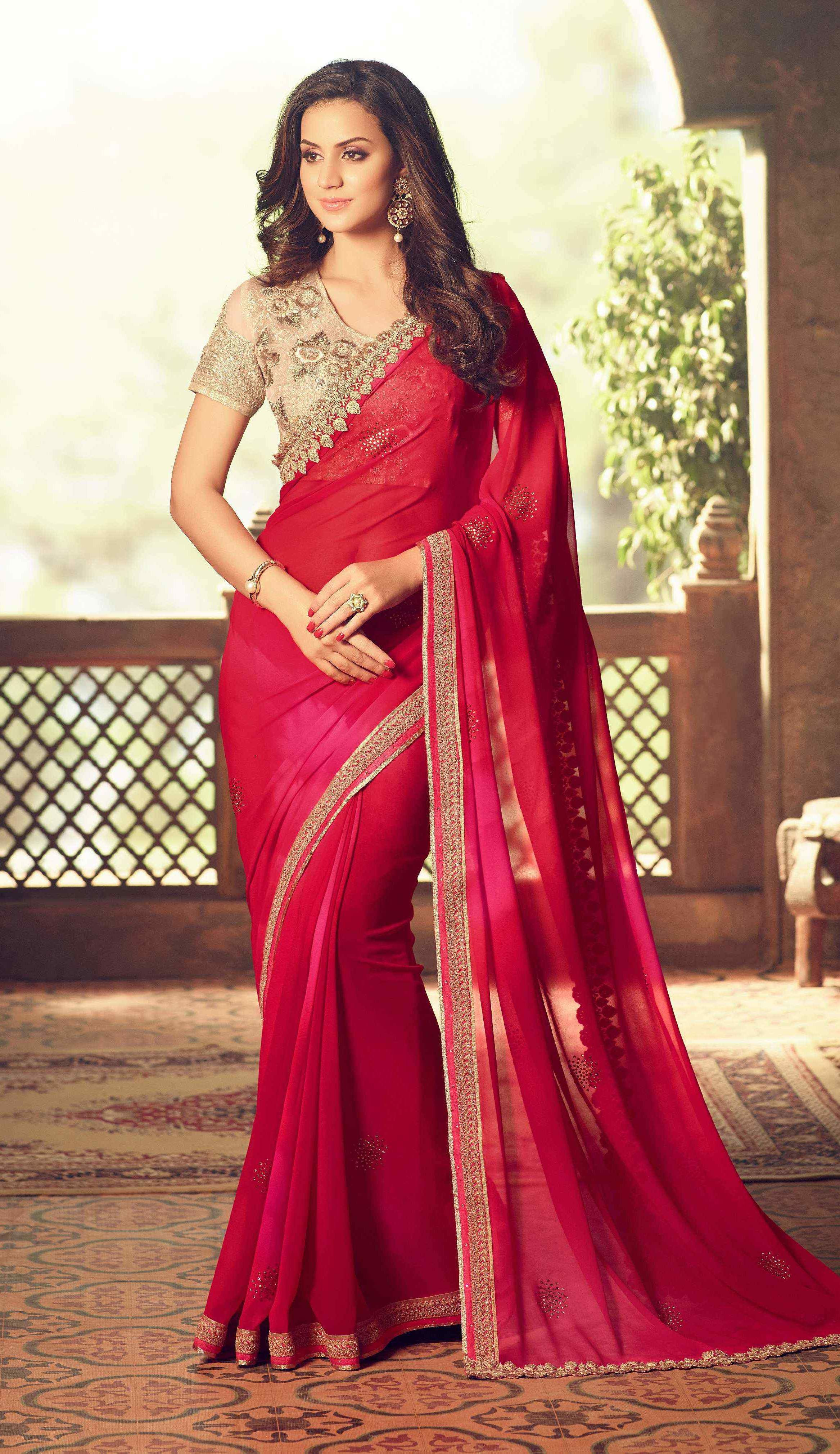 4e2f1b8aa318fd Red Party Wear Saree With Golden Net Blouse | Brijraj Sarees ...