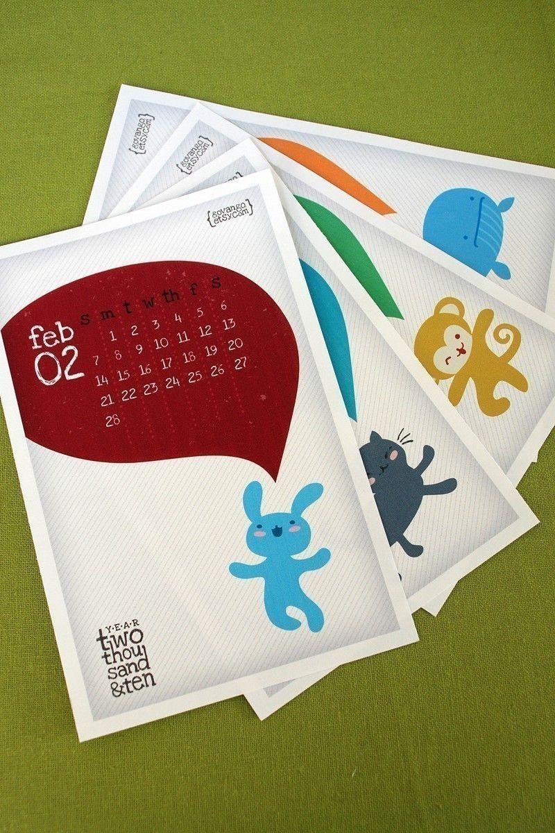 cute creatures calendar 2012 2013 printable digital pdf kawaii