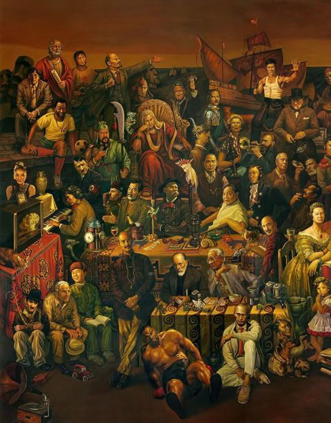 Discussing the Divine Comedy with Dante is a painting by Dai Dudu, Li Tiezi, and Zhang. You'll have to click the link to view the full size of this painting. Madness!