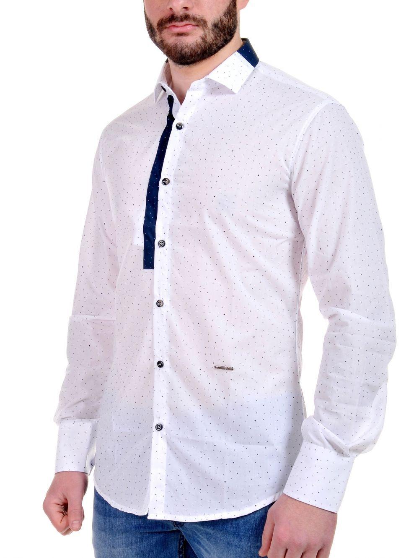 STEFAN Ανδρικό Italian Design slim fit λευκό πουά πουκάμισο ... 5820da3b319