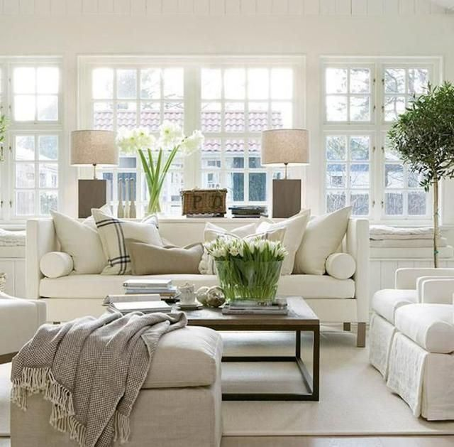 cozy coastal cottage style living room with a neutral pallete - Cottage Style Living Room Pinterest