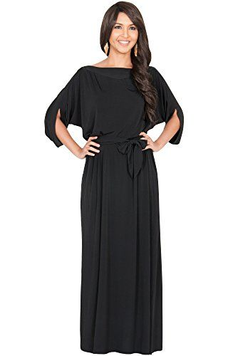 c7ea5968 KOH KOH Womens Long Flowy Formal Batwing Sleeve Evening Casual Gown Flowy  Semi Formal Office Wear to Work Summer Day Evening Loose Maxi Dress Color  Black ...