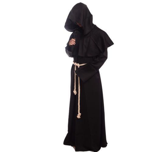 Friar-Medieval-Monk-Robe-Renaissance-Priest-Hooded -Cloak-Cape-Costume-Cosplay 58522518e