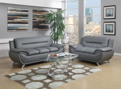 Gtu Furniture Contemporary Bonded Leather Sofa Loveseat Set 2 P Leather Living Room Furniture Contemporary Living Room Sets Grey Leather Living Room Furniture