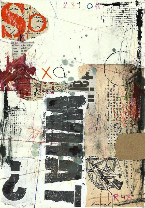 Print Art Abstract Drawing Collage Mixed Media Painting