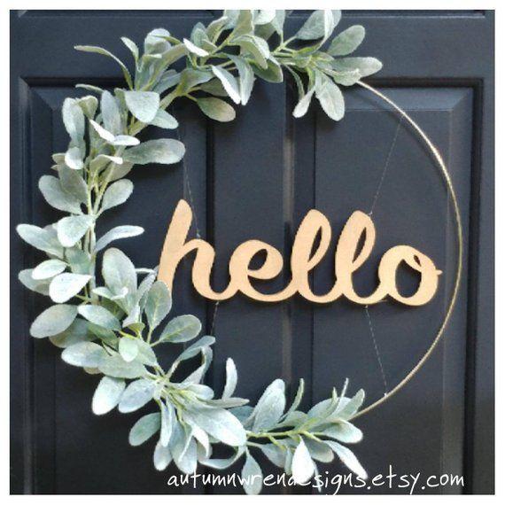 "Photo of SALE!!  Modern Lambs Ear HOOP Wreath, Hoop Wreath with Lambs Ear Greenery and ""Hello"" sign, Hoop Wreath for Front Door,  Wreaths"