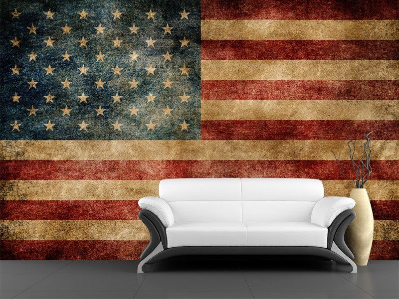 Vintage USA Flag Decorations Wall Art Living Room Interior With ...