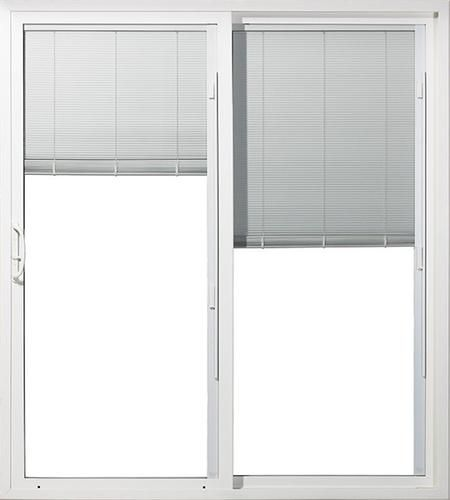 jeld wen white vinyl 6 ft sld patio door blinds in glass right