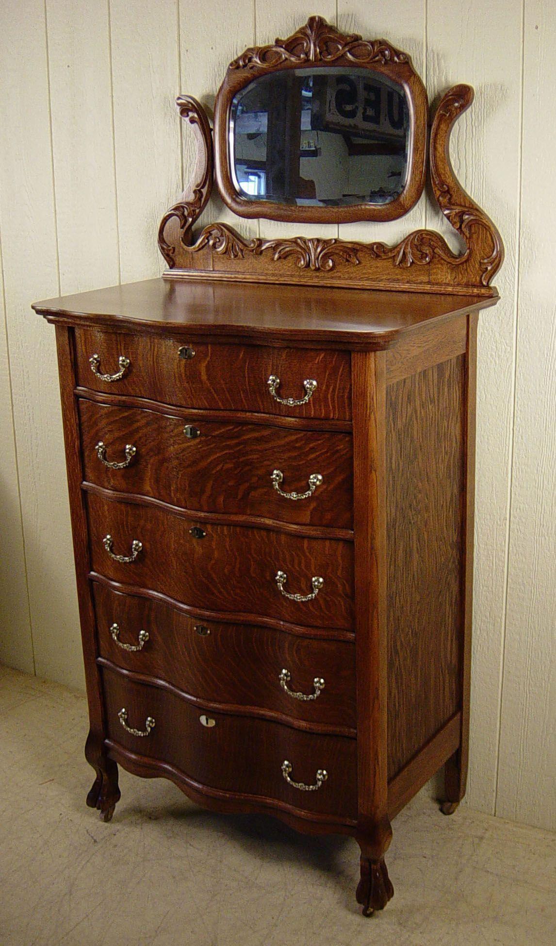 Oak Serpentine Chest with mirror bedroomfurnitureoak