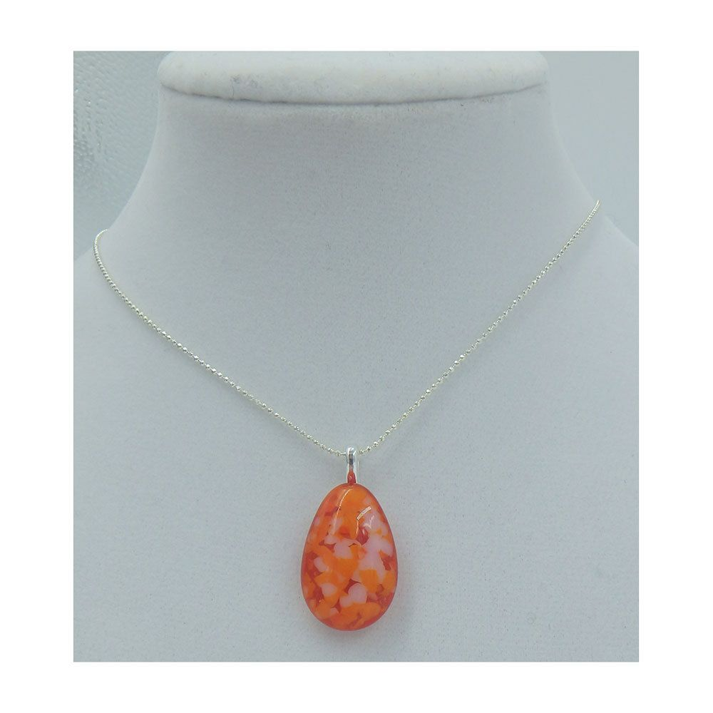 Kiln fused glass teardrop pendant on a silver chain by handmadebychloed on Etsy