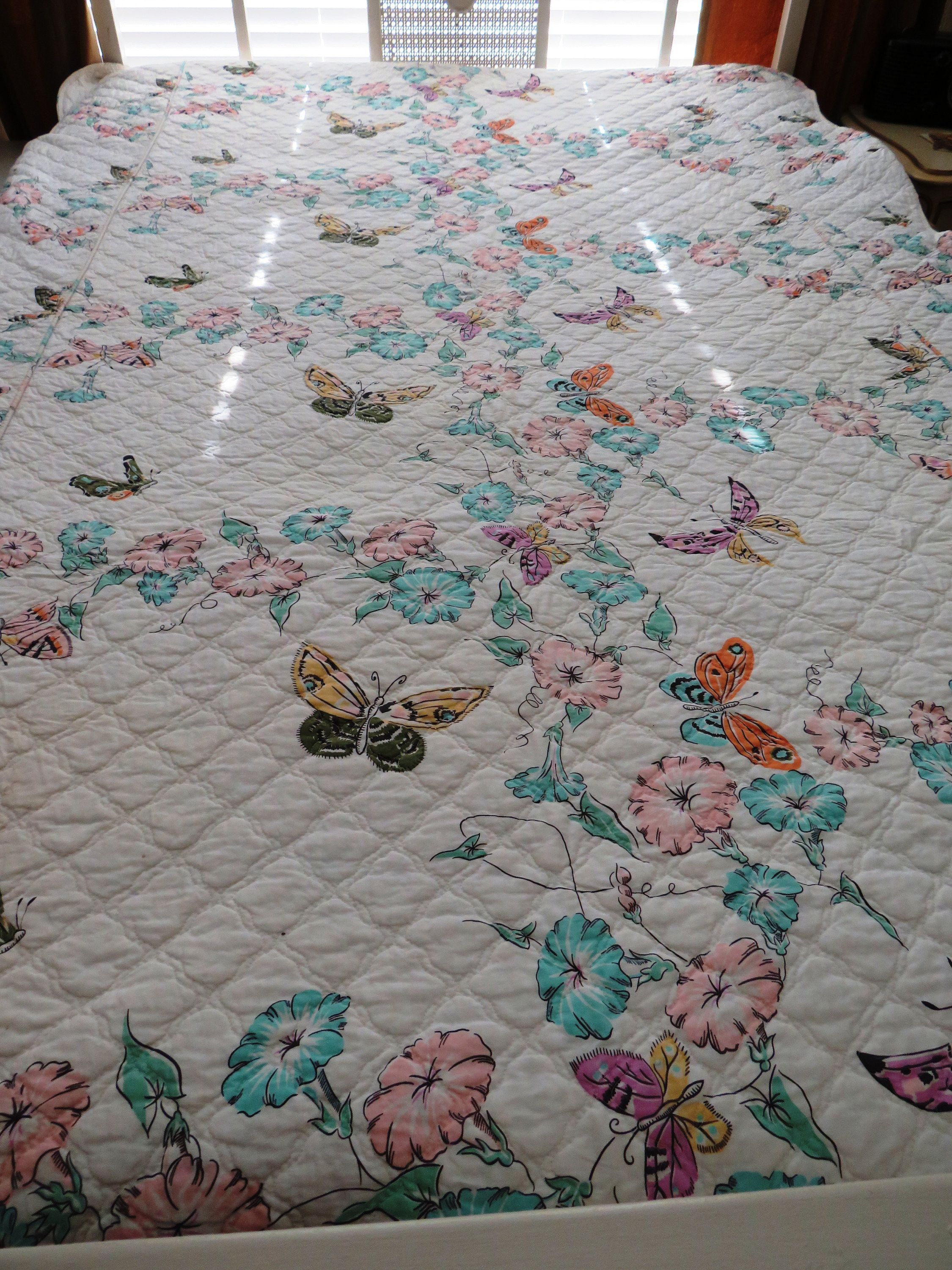 1970s Twin Quilted Coverlet Bedspread Pink Blue Morning Glories And Butterflies Summer Bedding Shabby Chic Vintage Twin Bed Quilt In 2020 Quilted Coverlet Twin Quilt Quilt Bedding