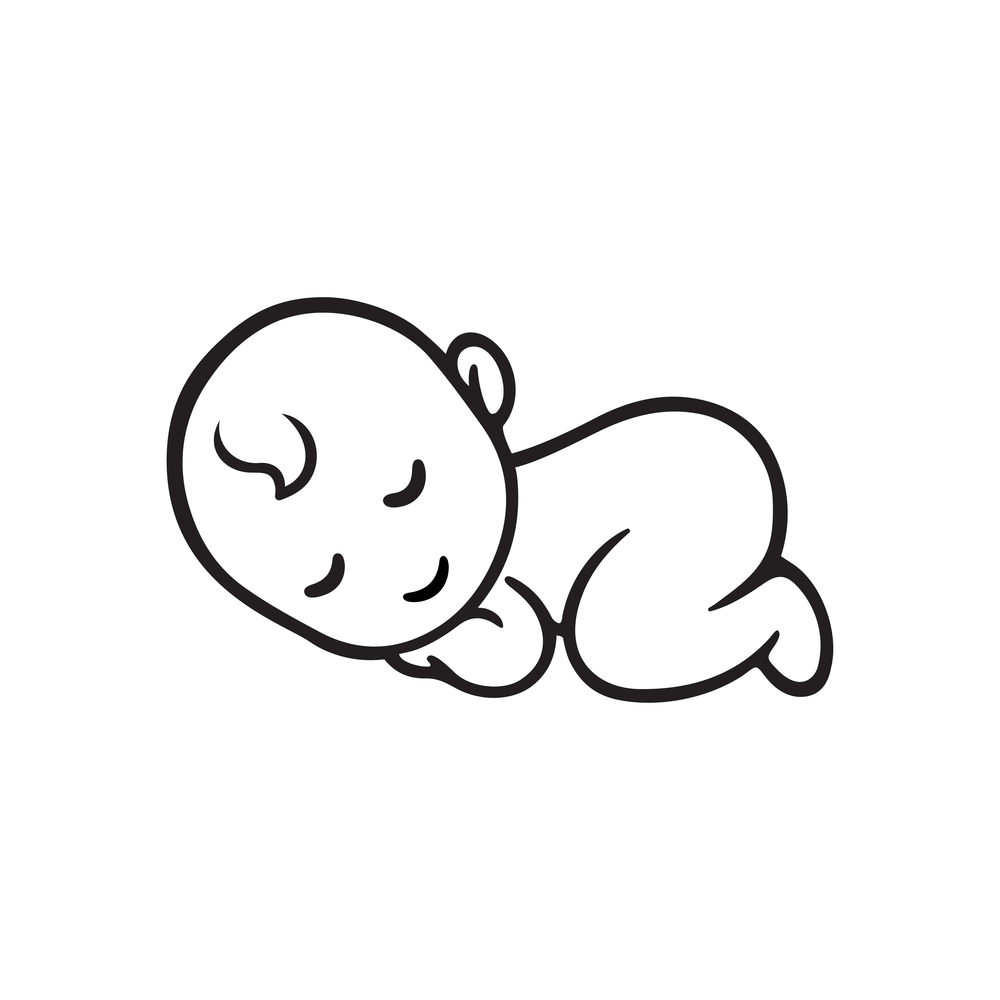 Sleeping Baby Silhouette Stylized Line Logo Baby Silhouette Baby Icon Baby Sketch