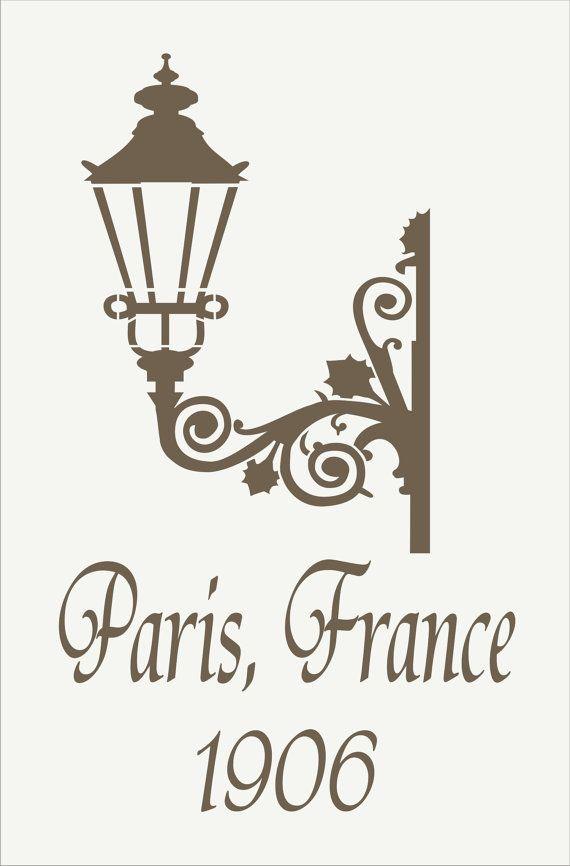 PARÍS Francia farola - REUTILIZABLES PLANTILLA 6 tamaños disponibles ...
