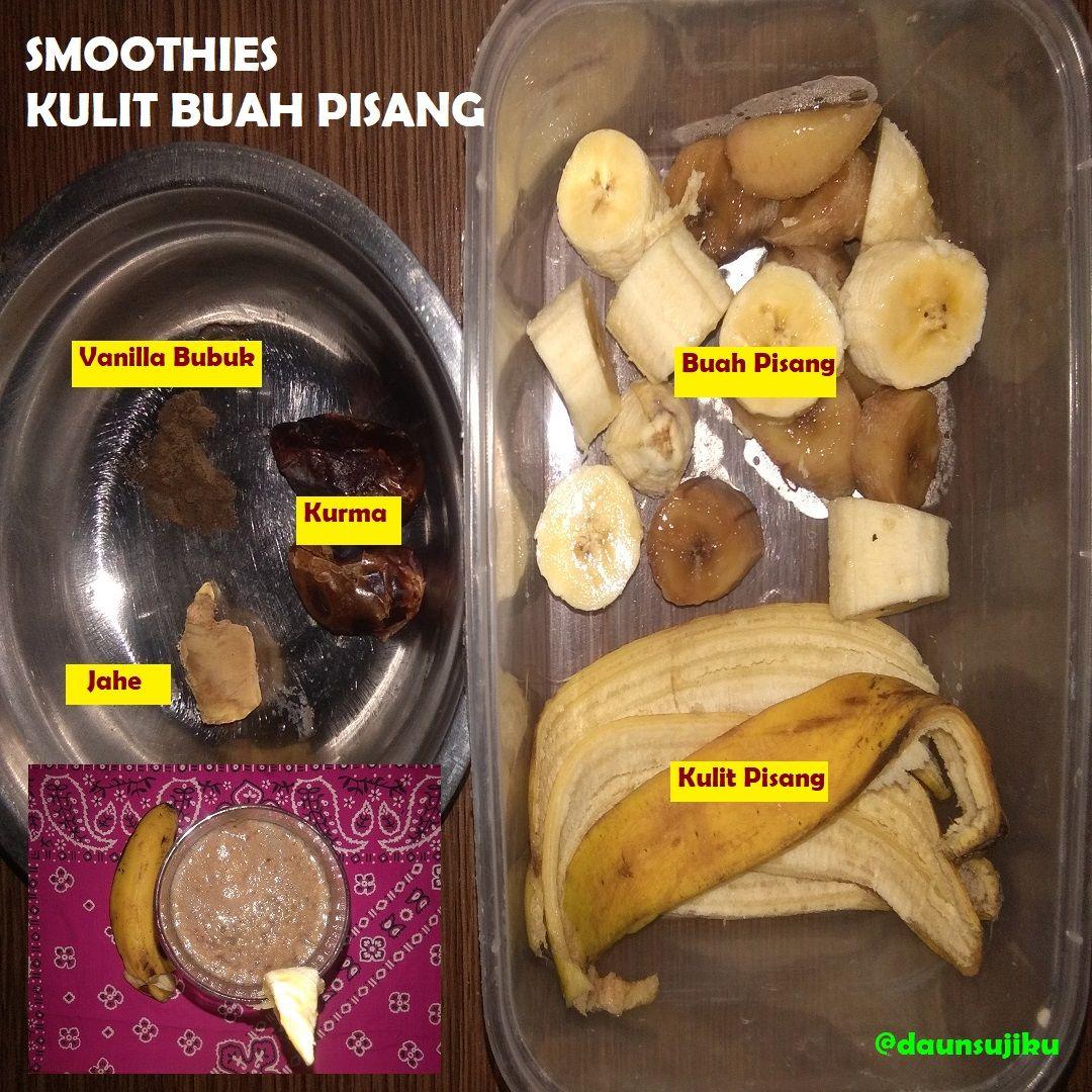 How To Make Banana Peel Smoothies With Jahe Kurma And Vanilla Powder Jahe Vanila Sendok