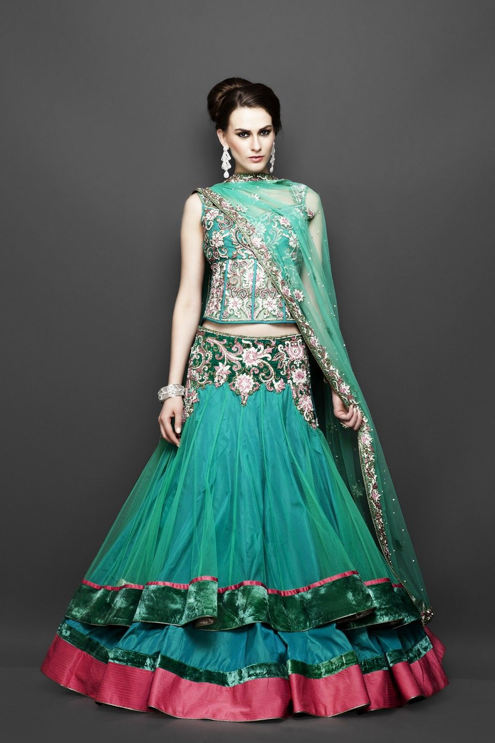 Party Wear Green outfit with Stylish Corset | Desi Fashion ...