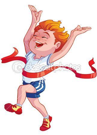 Boy at the finish — Stock Illustration #32526027