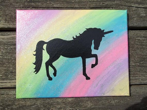Painted Rainbow Unicorn Wall Art Canvas Wall Art Acrylic