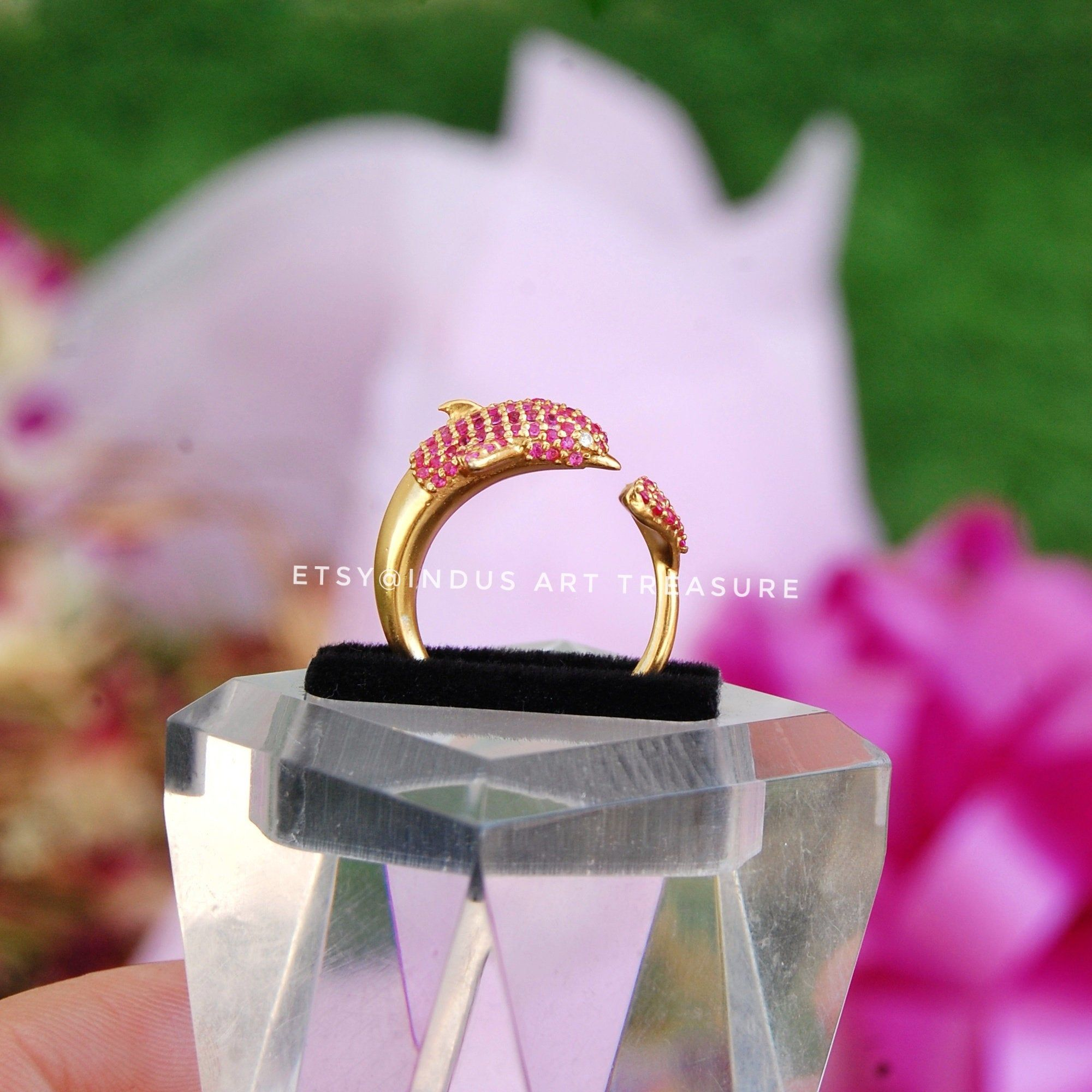 --------- Welcome To Indus Art Treasure --------- Product : Natural Ruby Dainty Gold Ring, Wrap Around Ring, Ocean Ring, Anniversary Gift Ring, Dolphin Ring, Red Stone Ring, Gifts for Her, Gold Plated 925 Sterling Silver Delicate Ring, Dainty Gold Ring, Wedding Ring Jewelry, Fish Ring, Propose Ring. Material : 925 Sterling Silver Micro Gold Plated & Natural Ruby . Ring size : Adjustable Ring Size from ( US5 to US8). Features : Top Quality Gemstone, All Handmade Ring, Long Lasting Micro Gold