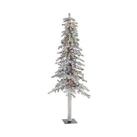 Vickerman 7 Ft Pre Lit Alpine Slim Flocked Artificial Christmas Tree
