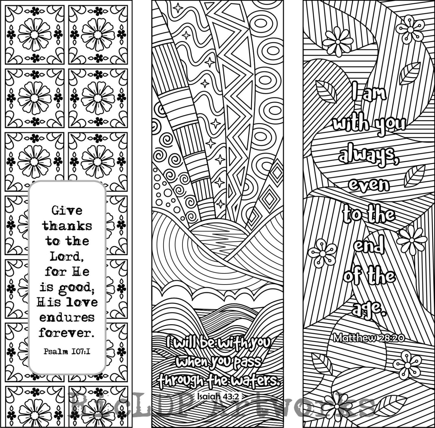 6 Bible Verse Coloring Bookmarks plus 3 designs with blank templates ...