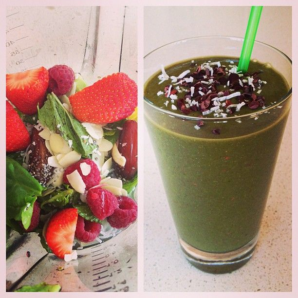 Fresh mango, #lovingearth freeze dried coconut water powder, maca powder, spinach leaves, avocado, lemon juice, mint leaves, strawberries, raspberries, dates, chia seeds, #supergreenformula topped with the lovingearth cocao nibs and coconut!