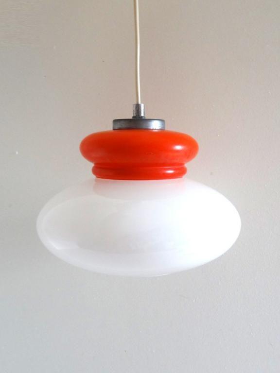 Suspension Vintage Opaline Orange Et Blanche Annees 70 Luminaire