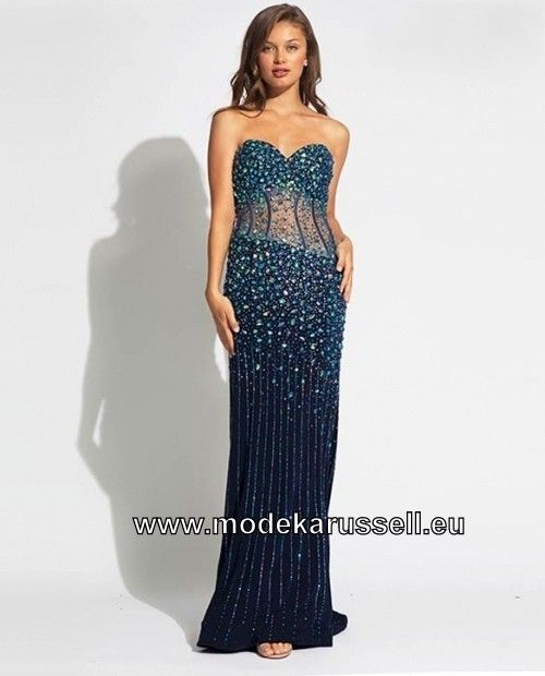 Etui Mieder Abendkleid In Blau Abendkleid Elegante Mode Kleider