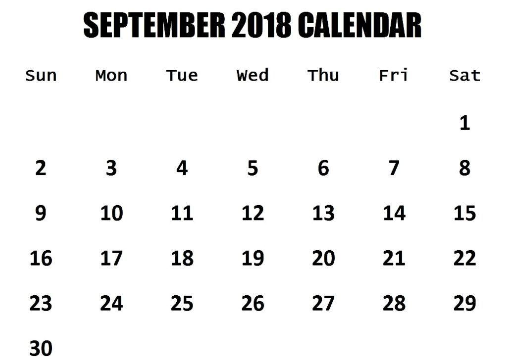 2018 September Calendar Fillable September 2018 Calendar