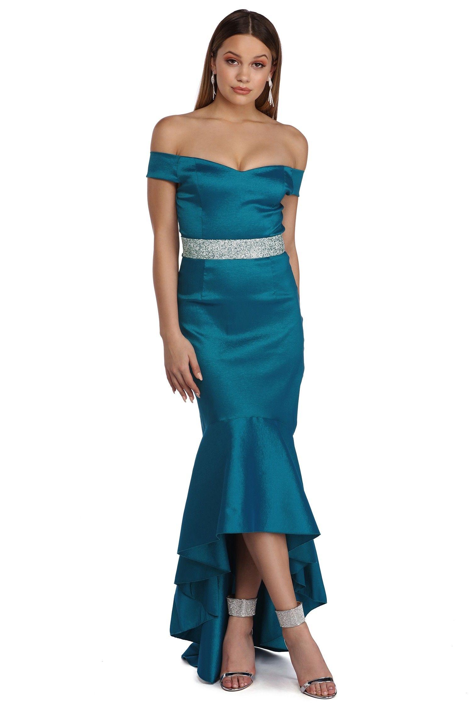 Zuri Teal Sweetheart High Low Taffeta Dress   Taffeta dress, High ...