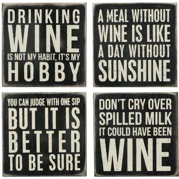 """WINE Wooden Box Sign Coaster Set of 4 by Primitives by Kathy 4/"""" x 4/"""" Each"""