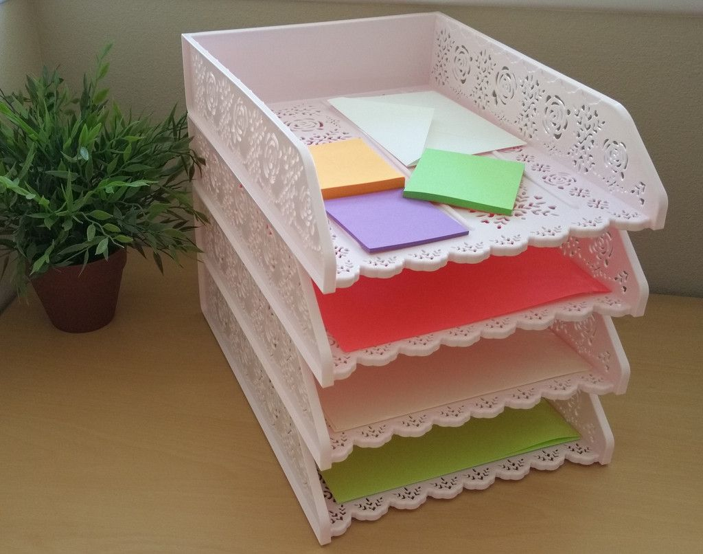 Desk organizer a4 paper tray pack of 4 desk