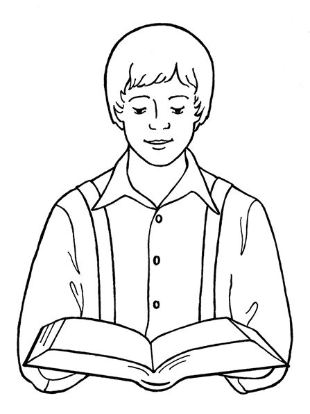 An illustration of Joseph Smith reading the scriptures