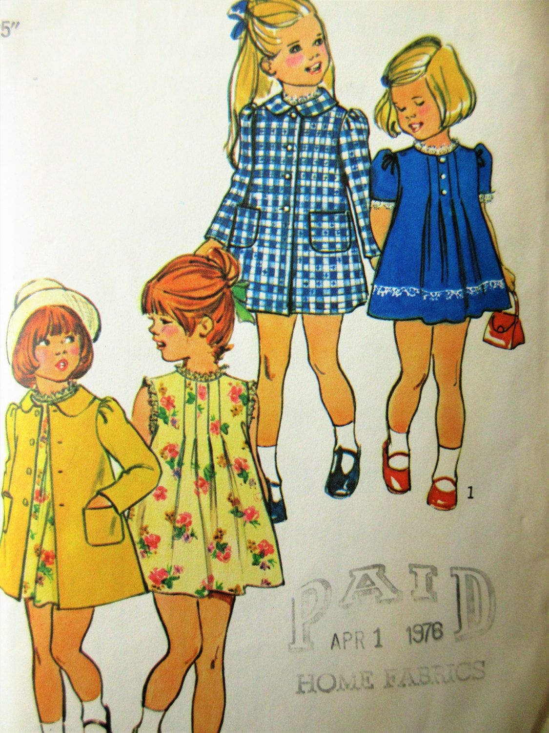 Vintage Simplicity 6182 Sewing Pattern, 1970s Girl\'s Dress Pattern ...