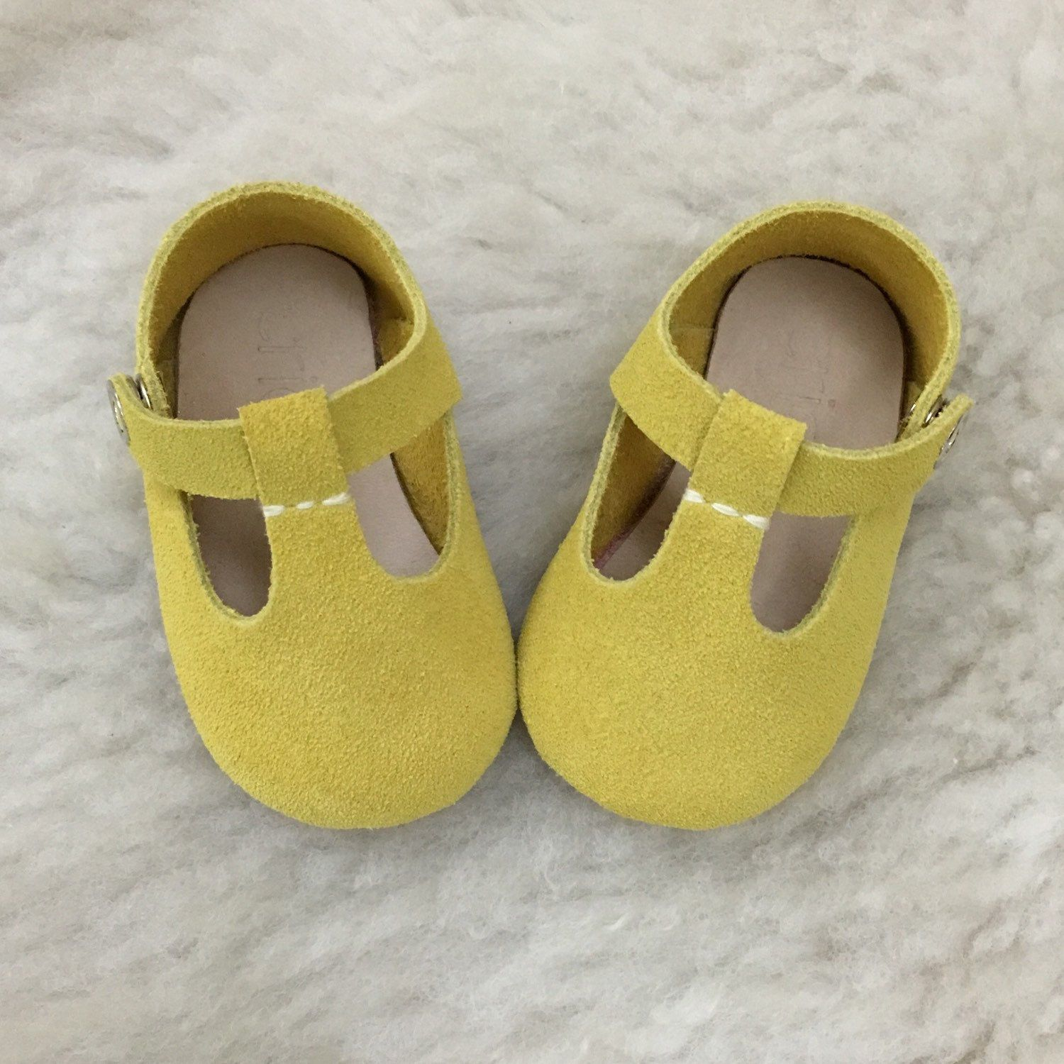 29d8d75683144 Mustard Baby Girl Shoes, Baby Moccasins, Yellow Leather Mary Jane T ...