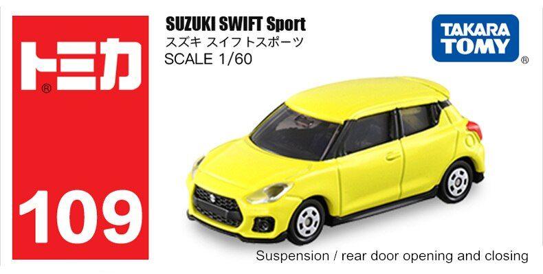 Takara Tomy Tomica N0.109 Suzuki Swift Sport 1//60 Scale Diecast Toy Car Yellow