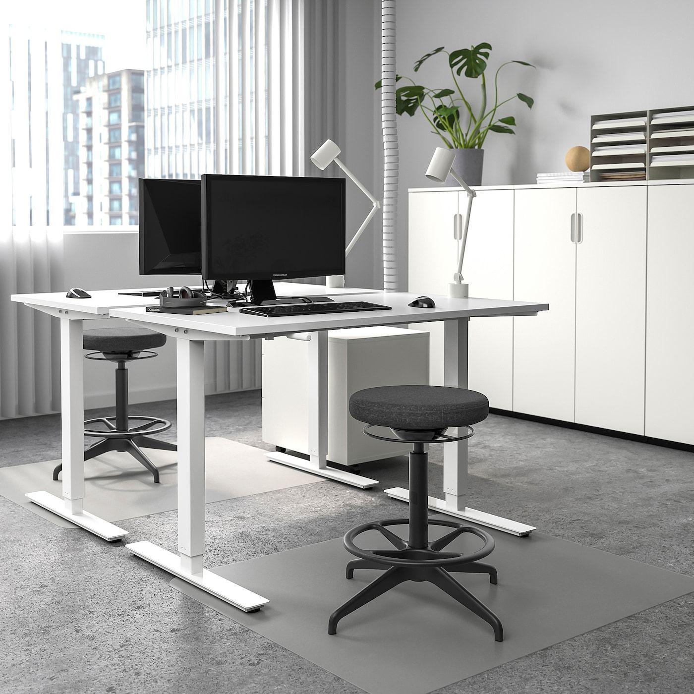 Skarsta Schreibtisch Sitz Steh Weiss In 2020 Schreibtischideen