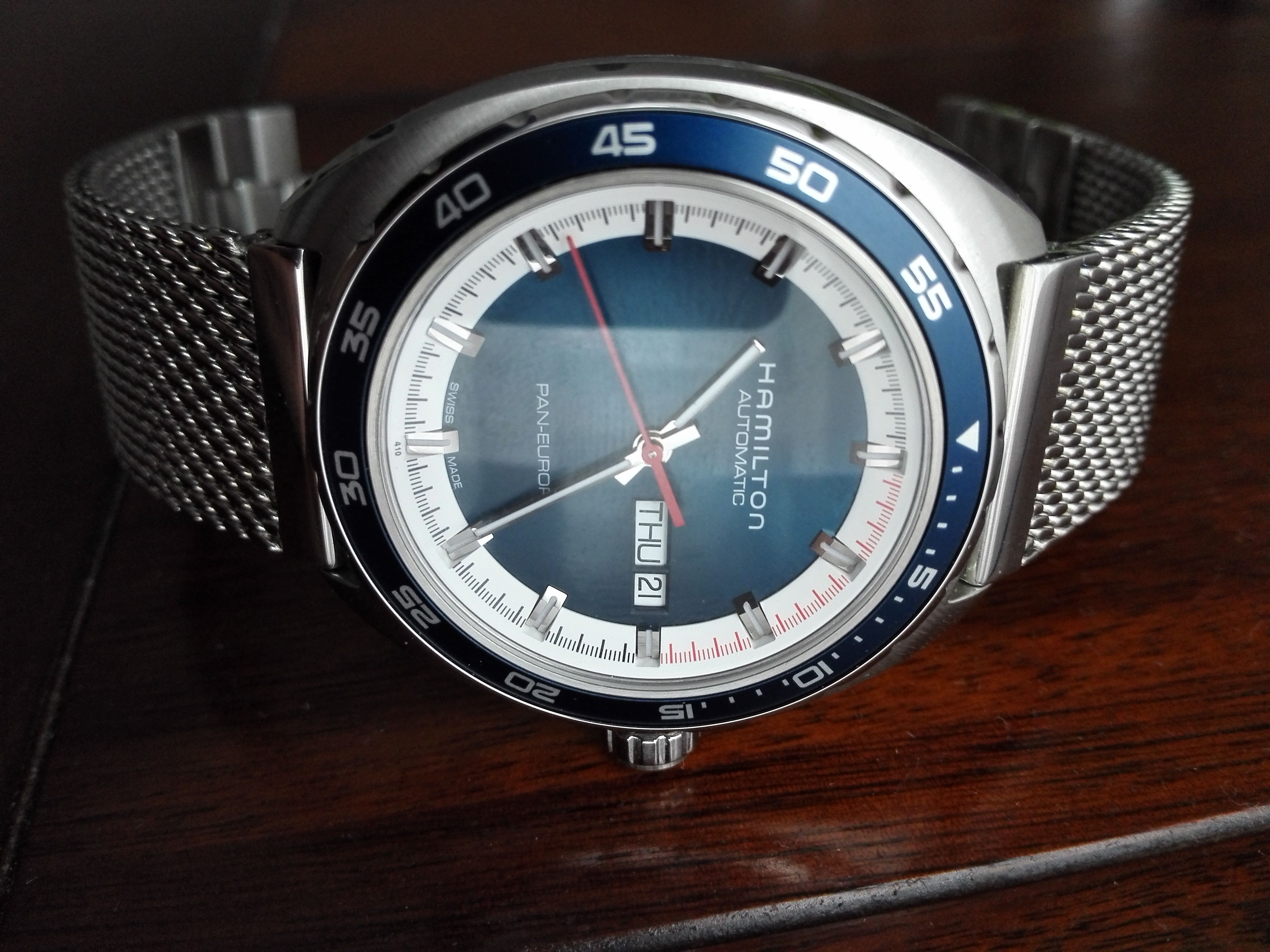Hamilton Pan Europ On A Premium Vantage Mesh Strap Watches For Men Mesh Strap Watches