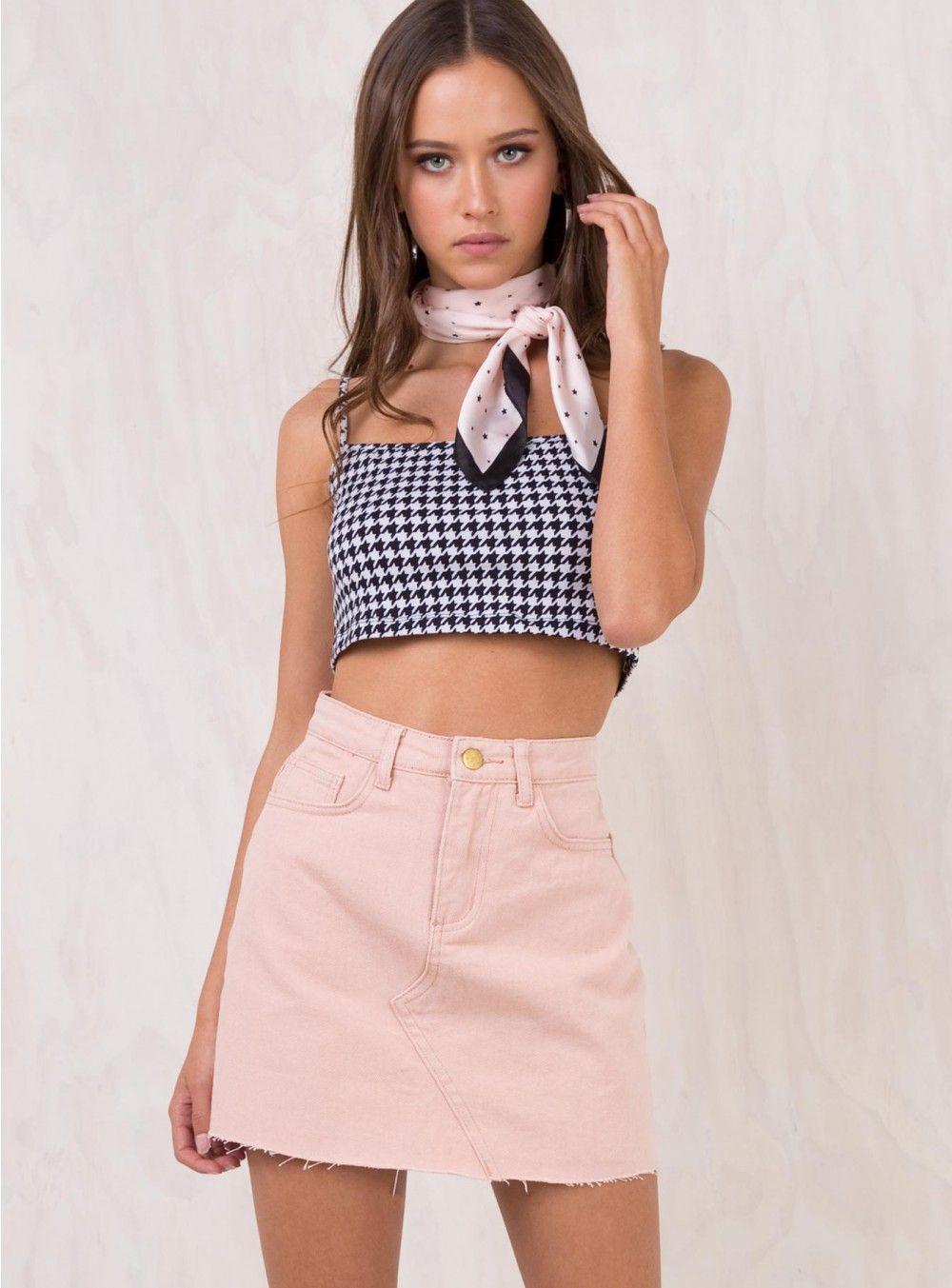 Pink Pet Shop Eyes Denim Skirt