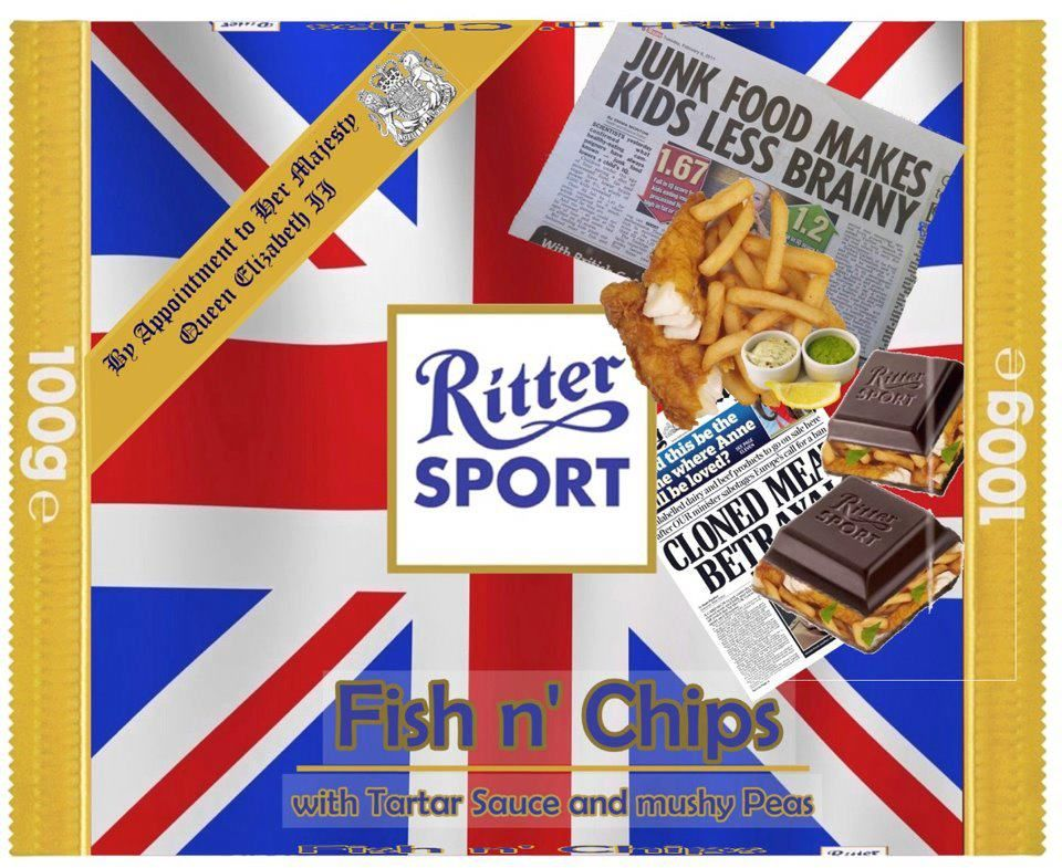 RITTER SPORT Fake Schokolade Fish n' Chips | Ritter Sport | Pinterest | Humor, Funny things and ...
