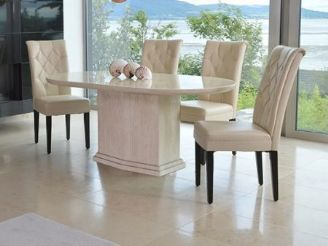 Caprice Marble Dining Set 180cms Oval Table With Four Chairs