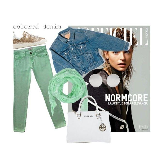 """Colored denim"" by mahaaaaaa ❤ liked on Polyvore featuring Current/Elliott, Golden Goose, Balenciaga, BLUI, Michael Kors and Linda Farrow"