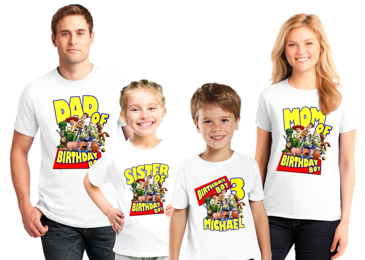 Custom toy story birthday party shirts for boys girls and for Custom t shirt next day delivery