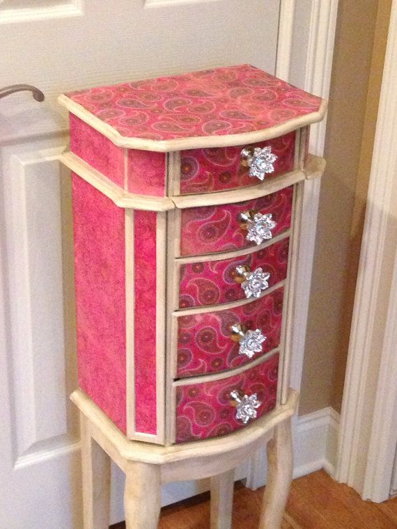 Pink Paisley Repurposed Jewelry Armoire Custom Made To Order