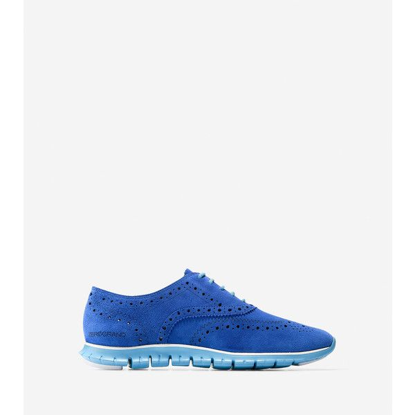 Womens Shoes Cole Haan Zerogrand Wing Oxford Marlin Blue Suede