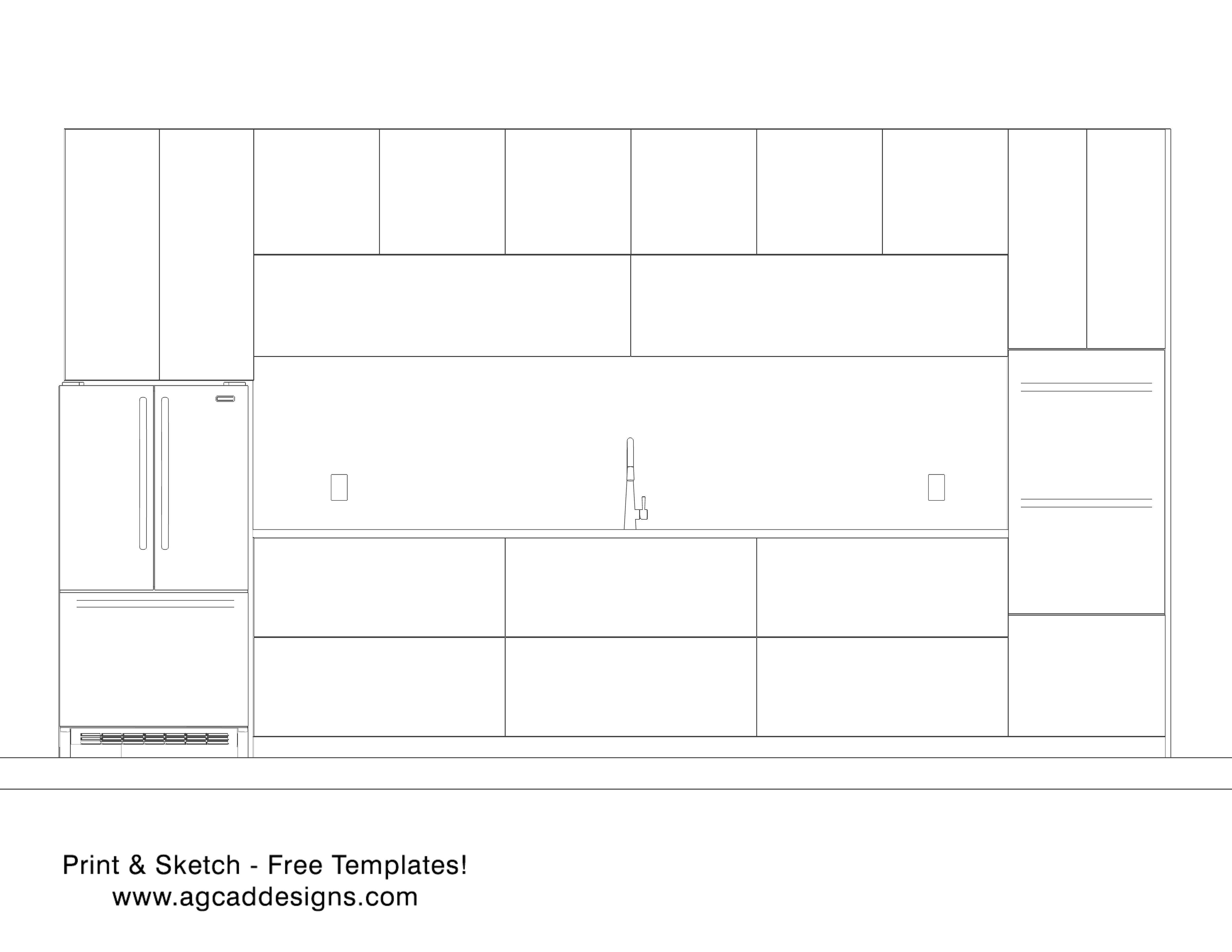 Kitchen front view elevation Print & Sketch free interior design ...
