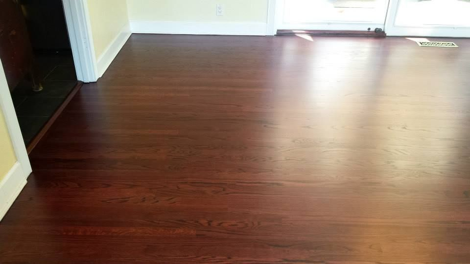 A Red Oak Floor Refinished Using The Duraseal Royal Mahogany Stain
