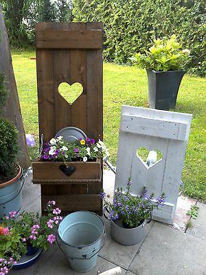 Shabby Fensterladen Herz Blumenkasten Garten Deko Holz Massiv Landhaus Garten Deko Gartendekor Fensterkasten