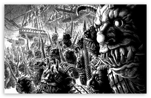 Monsters Drawing Black And White Hd Desktop Wallpaper Widescreen High Definition Fullscreen Mobile Berserk Monster Drawing Manga