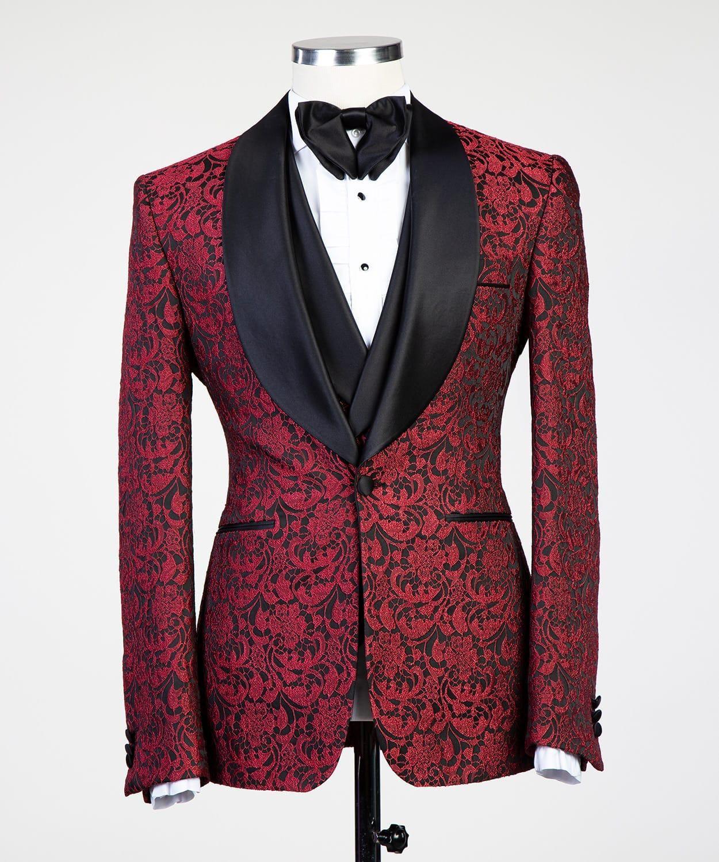 Fashune Luxury Bordeaux Tuxedo Fashune Mens Vest Fashion Blazer Outfits Men Tuxedo